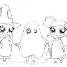 Halloween Geister und Hexen zum Ausmalen