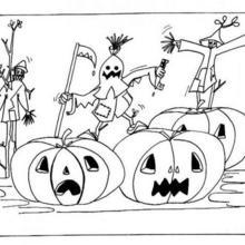 Halloween Vogelscheuchen und Kürbisse