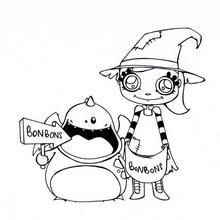 Jenny sammelt Halloween Bonbons