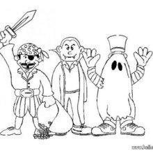 Kinder in Halloweenkostümen zum Ausmalen