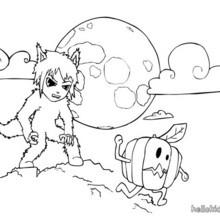 Matias trägt ein Halloween Werwolfkostüm zum Ausmalen