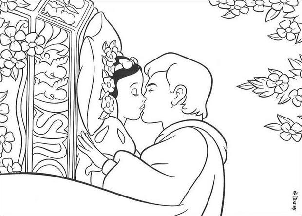 Prinz Kusst Schneewittchen Zum Ausmalen De Hellokids Com