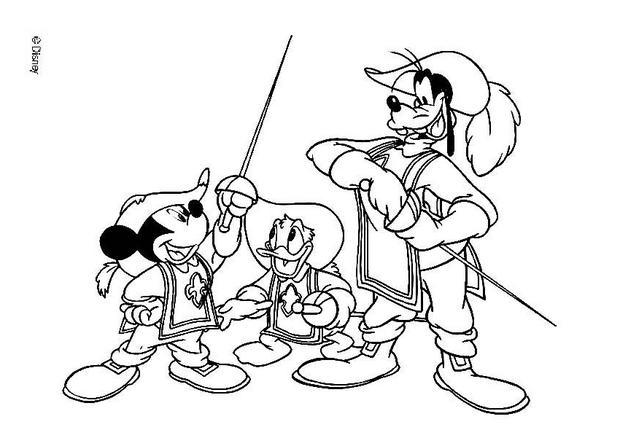 Schwertkampf zwischen Micky Maus, Donald Duck und Goofy Goof