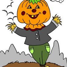 Halloween, VOGELSCHEUCHEN zum Ausmalen