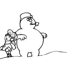 Frosty der Schneemann und Karen zum Ausmalen