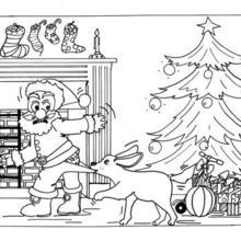 Weihnachtsmann mit seinem Hund zum Ausmalen