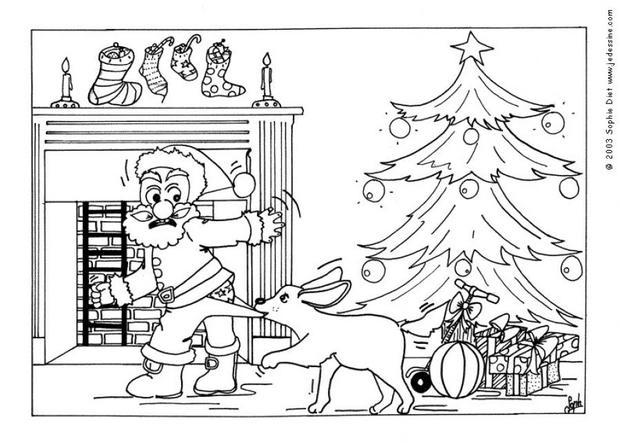 weihnachtsmann mit seinem hund zum ausmalen zum ausmalen. Black Bedroom Furniture Sets. Home Design Ideas