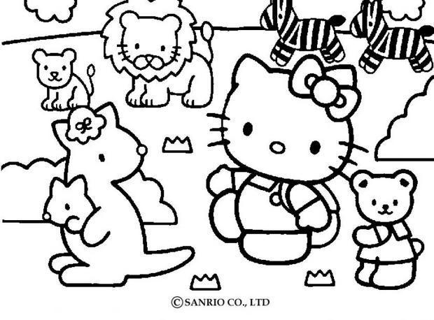 Hello kitty mit tieren ausmalbild zum ausmalen - de.hellokids.com