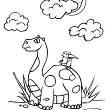 Dinosaurier und Vogel zum Ausmalen
