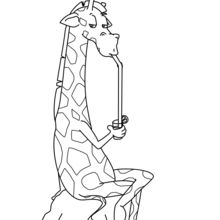Giraffe mit einem Cocktail