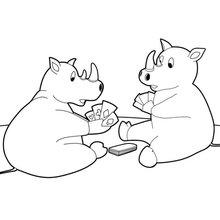 Deux rhinocéros jouant aux cartes