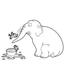 Elephant Spiel mit Vögeln