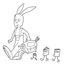 Kaninchen auf dem Weg zur Schule