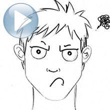 Zeichnen Sie einen Gesichtsausdruck: eine mürrische Gesicht
