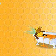 Biene in ihrem Bad