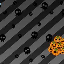 Schädel und Halloween-Kürbisse