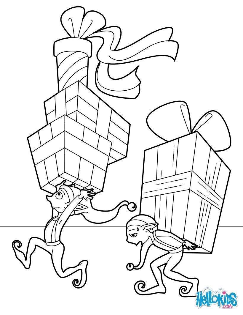 Elfen verteilen Geschenke