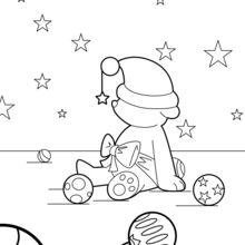 Teddy und Weihnachtskugeln