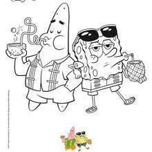 Färbung Sponge Bob und Patrick Strand