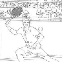 Tennisspieler macht eine Vorhandschlag
