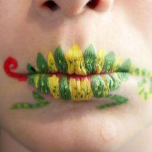 Schminken auf Lippen: Chamäleon