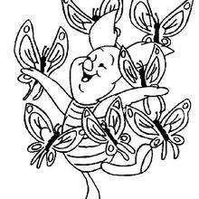 Ferkel mit einem Schmetterling