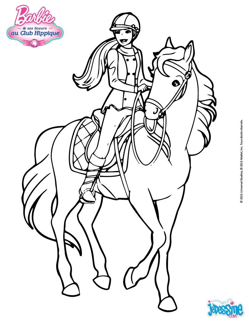 Barbie Auf Seinem Pferd Zum Ausmalen De Hellokids Com