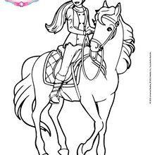 ausmalbilder barbie mit pferd - kostenlos zum ausdrucken