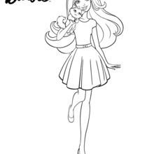Barbie für einen Spaziergang mit ihrem Welpen