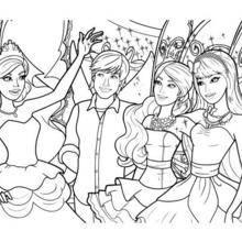 Barbie, Ken und ihr märchen Freunden Färbung