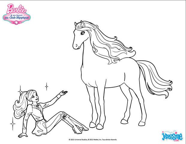 Barbie Saß Neben Seinem Pferd Zum Ausmalen De Hellokids Com