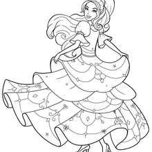 Corinne Färbung in ihrem schönen Kleid