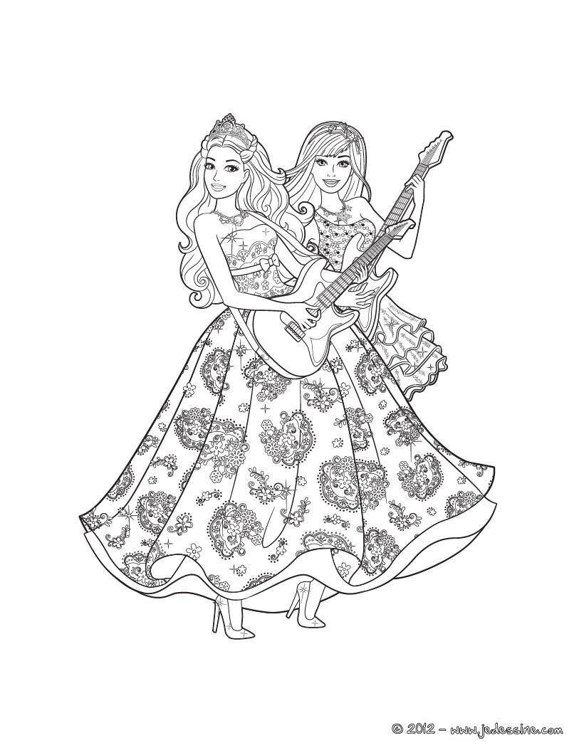 Ausmalbilder Barbie Und Der Popstar : Die Prinzessin Und Der Popstar Druck Zum Ausmalen De Hellokids Com