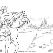 Kolorierung von Corinne zu Pferde in den Türen von Paris