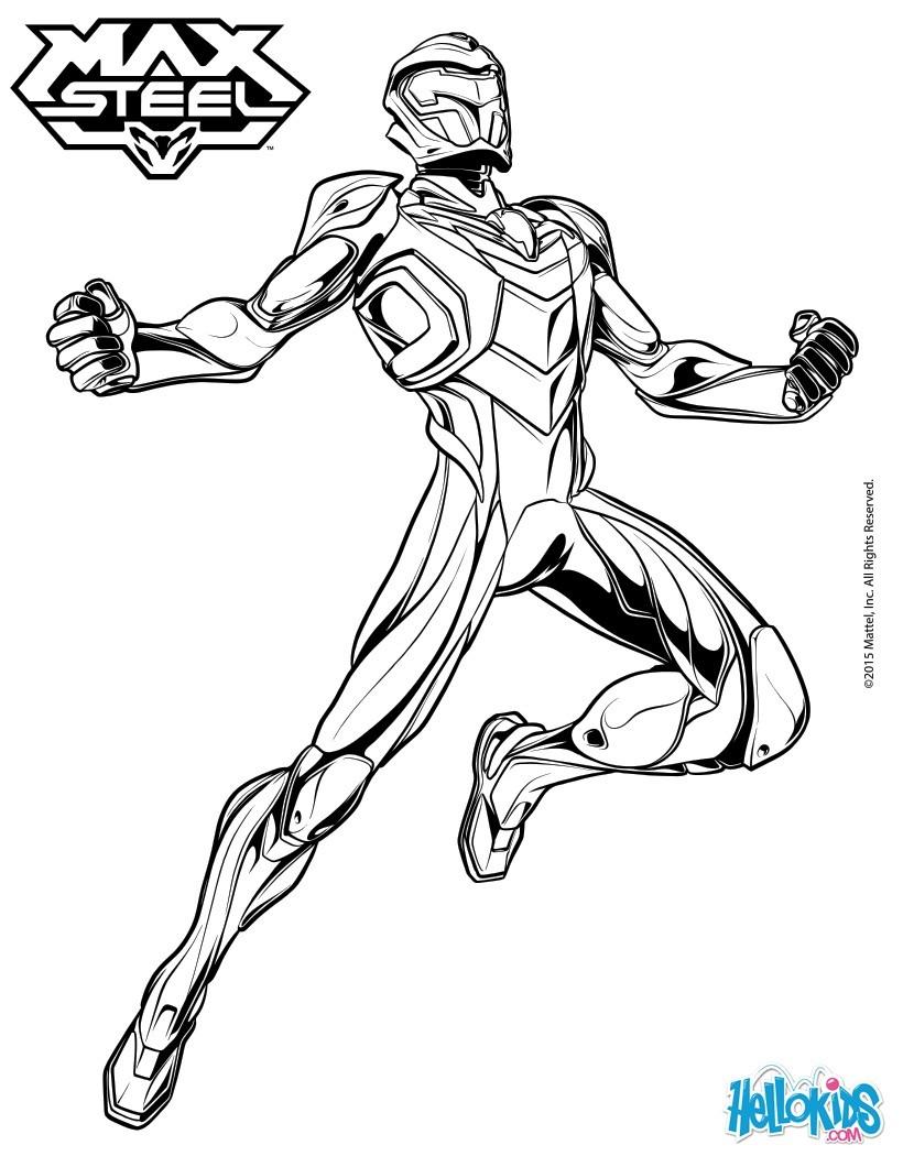 Superhelden Ausmalbilder Zum Ausdrucken Kostenlos: Superhelden Max Steel Rüstung Zum Ausmalen