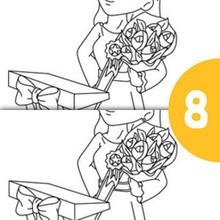 Glückliche Mutter mit Blumen finde die Unterschiede