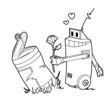 Roboter hält