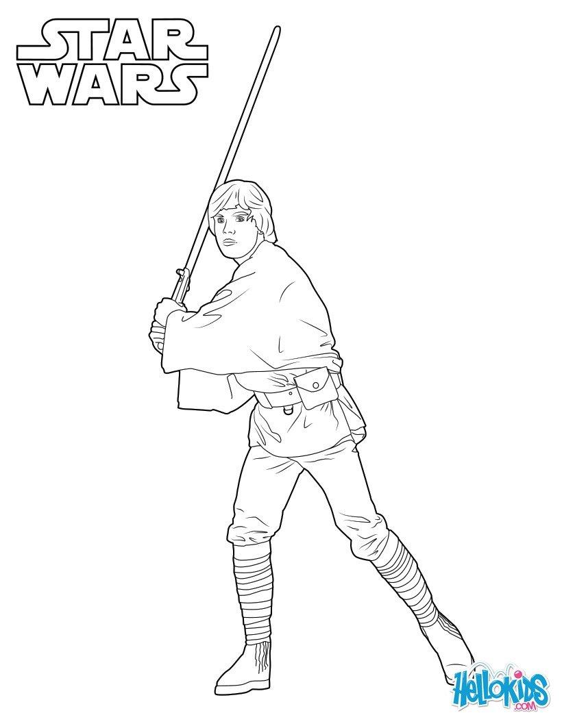 Luke skywalker zum ausmalen dehellokids