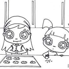 Mädchen backen Kekse zum Ausmalen