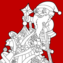Weihnachtsmann bereitet den Baum vor zum Ausmalen