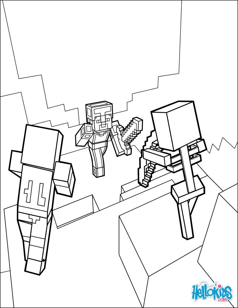 Minecraft Ausmalbilder Drucken : Minecraft Ausmalbilder Dangerous Dungeon Fights Zum Ausmalen De