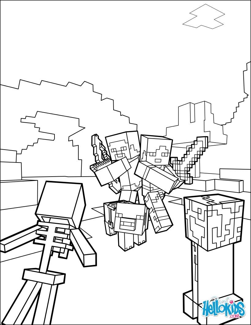 Ausmalbilder Zum Ausdrucken Minecraft : Minecraft Ausmalbilder Kampf Gegen Alle Mobs Zum Ausmalen De