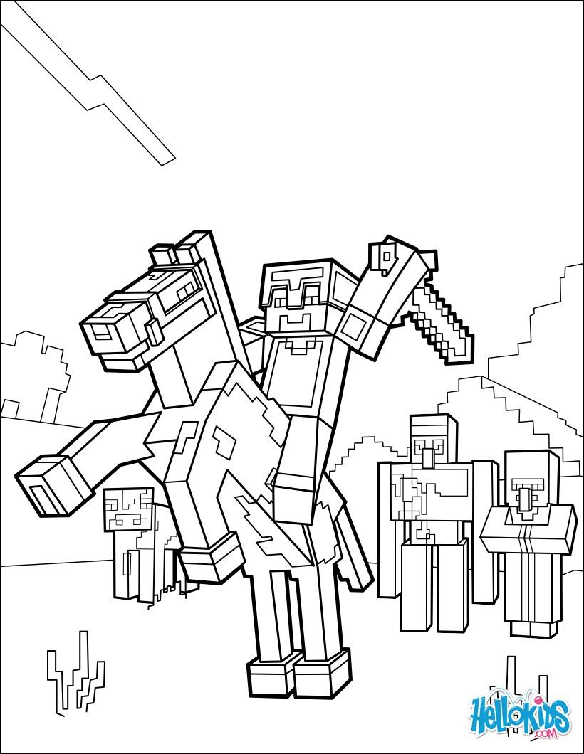 Ausmalbilder Minecraft Pferde : Minecraft Ausmalbilder Reiten Sie Ein Pferd Zum Horizont Zum