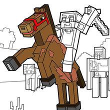 Minecraft ausmalbilder - Reiten Sie ein Pferd zum Horizont