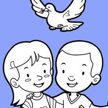 Freunde und eine Taube des Friedens