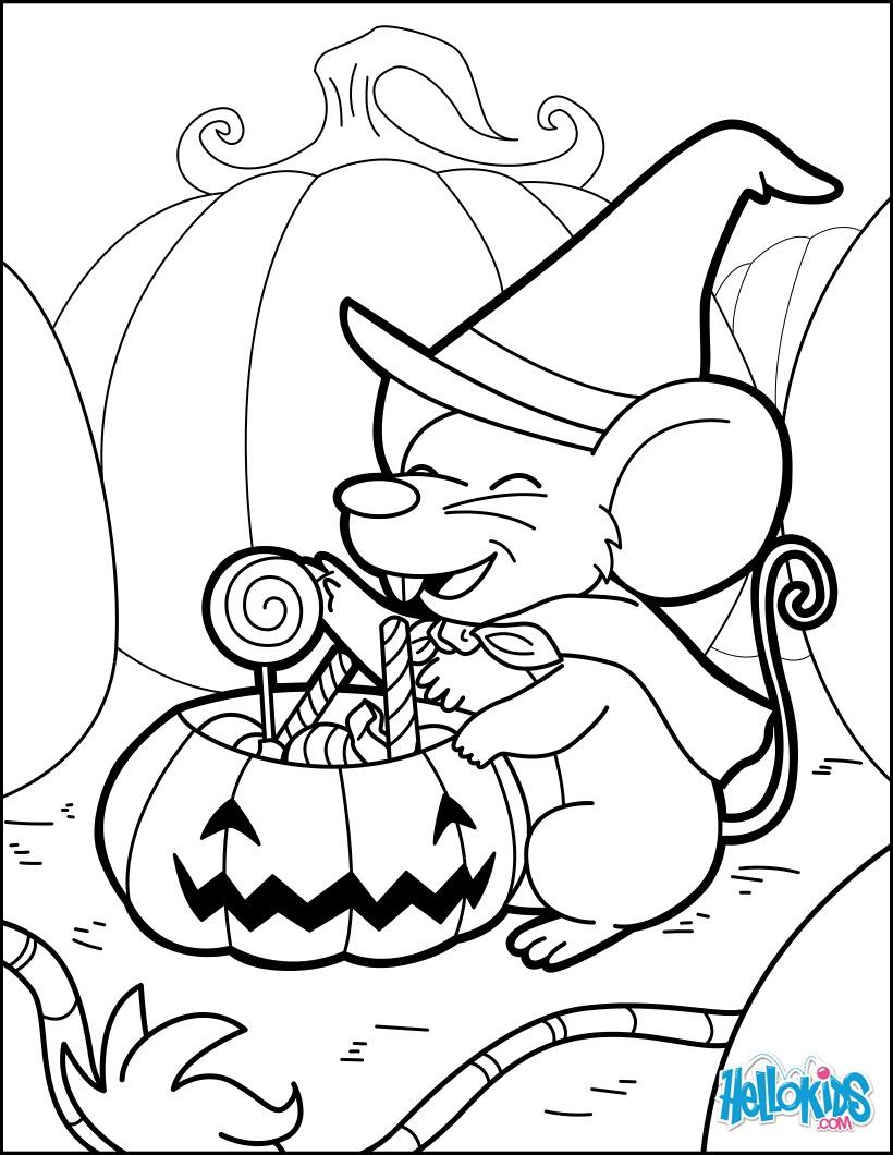 Eine magische Maus, die Halloween-Tränke braut