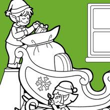 Die Helfer des Weihnachtsmanns bereiten den Schlitten vor