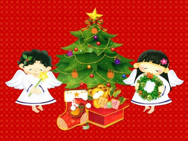 Engel und Weihnachtsbaum Poster